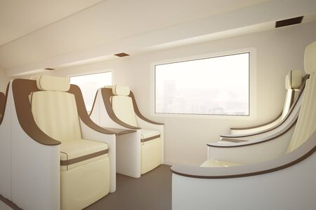 Side view of modern luxury train seats and window wity city view. Traveling concept. 3D Rendering