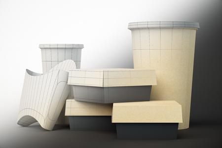 unfinished: Unfinished fast food packaging design on gray background. Mock up, 3D Rendering