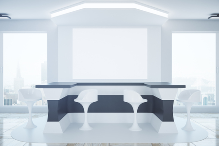office furniture: Modern business interior with reception desk, stools, city view and blank banner. Mock up, 3D Rendering Stock Photo