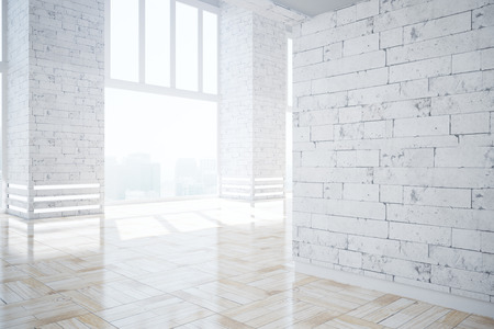copyspace: Modern brick interior with city view, sunlight and blank wall. Mock up, 3D Rendering Stock Photo