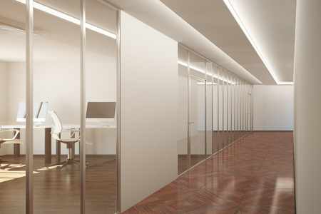 office furniture: Side view of modern office interior with blank poster. Mock up, 3D Rendering. Toned image