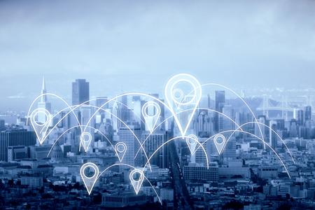 Miasto z abstrakcyjnie połączonymi pinami lokalizacyjnymi. Nudny tle nieba. Koncepcja nawigacji. Renderowanie 3D Zdjęcie Seryjne