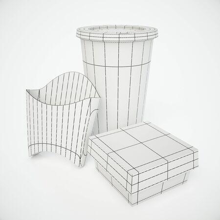 unfinished: Unfinished fast food box design on light background. Mock up, 3D Rendering