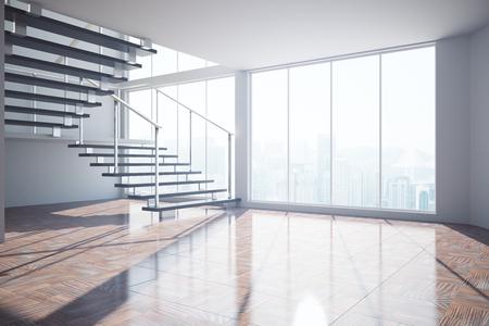 Leeg ongemeubileerd interieur met trap, stadszicht en zonlicht. 3D-rendering Stockfoto