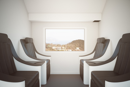 Side view of modern train seats next to window with landscape view. Travel concept. 3D Rendering Stock Photo