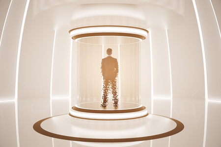 Back view of man inside abstract teleportation sation. Future technologies concept. 3D Rendering