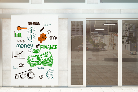wealth concept: Shop exterior with money sketch on banner. Wealth concept, 3D Rendering Stock Photo
