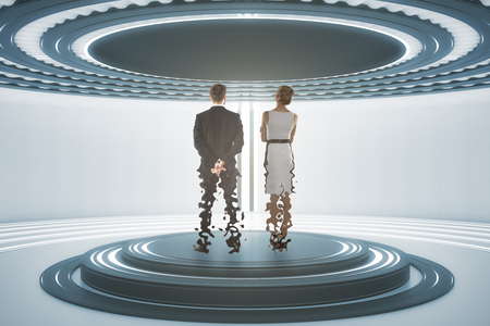 Back view of businessman and woman inside abstract teleportation sation. Future technologies concept. 3D Rendering