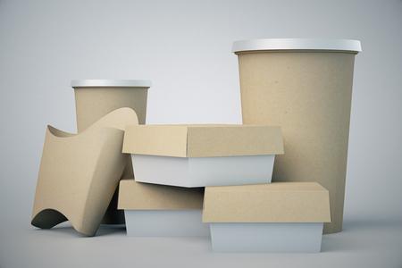 grey: Paper fast food packaging on grey background. Mock up, 3D Rendering