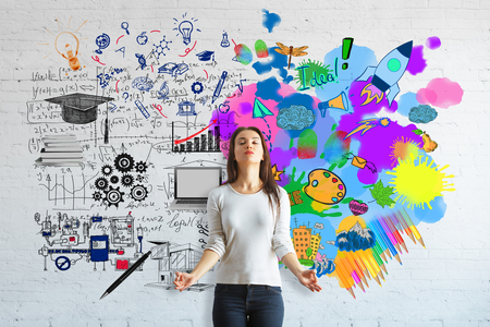 analytical: Creative and analytical thinking concept. Meditating young woman on brick background with colorful sketch and mathematical formulas Stock Photo