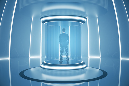 Back view of businessperson inside abstract teleportation sation. Future technologies concept. 3D Rendering