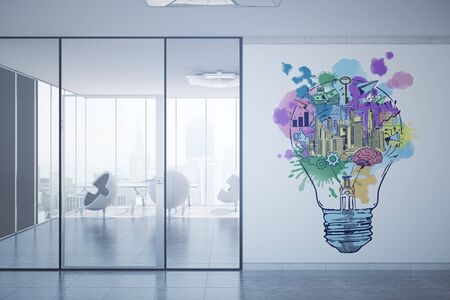 Contemporary office interior with equipment, city view, daylight and creative business sketch. Growth concept. 3D Rendering Imagens