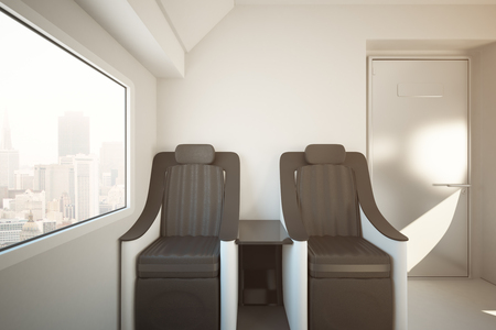 Front view of luxury train seats next to window with city view. Travel concept. 3D Rendering. Toned image Stock Photo