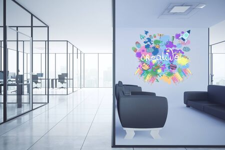 entrepreneurship: Modern office interior with lounge area, workplaces and creative sketch on wall. Creativity concept, 3D Rendering Stock Photo