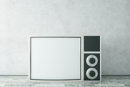 screen: Old TV on concrete background. Mock up, 3D Rendering Stock Photo