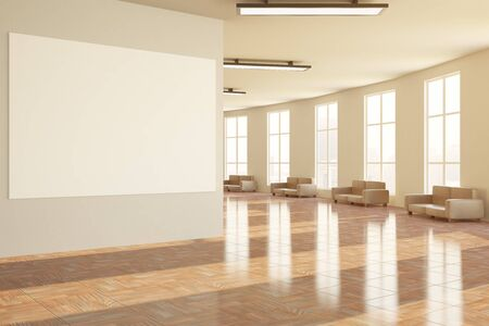 shiny floor: Side view of modern hall with blank banner and seats. Mock up, 3D Rendering