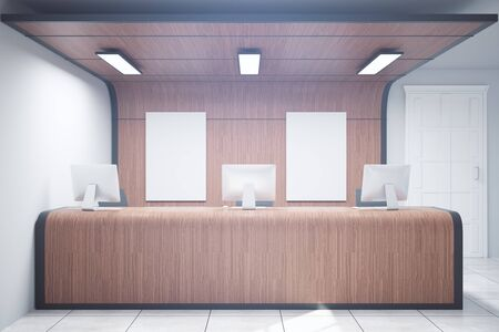 hotel rooms: Wooden reception desk with two blank posters. Mock up, 3D Rendering