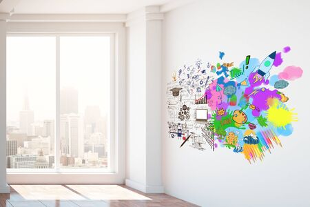 pensamiento creativo: Bright interior with city view and colorful sketch. 3D Rendering. Creative and analytical thinking concept