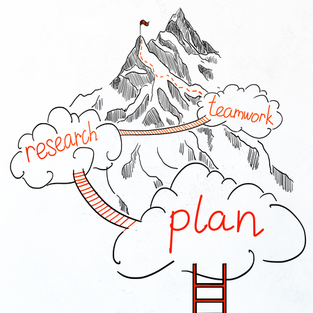 competitions: Drawn ladder, clouds and road to mountain top on white background. Leadership concept Stock Photo