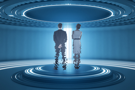 Back view of businesspeople inside abstract teleportation sation. Future technologies concept. 3D Rendering Stock Photo