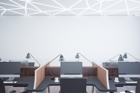 modern office interior: Modern coworking office interior with empty wall. Mock up, 3D Rendering Stock Photo