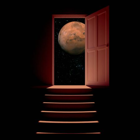 moonlit: Abstract interior with steps and open door with full moon view. Success concept. 3D Rendering Stock Photo