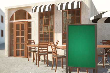 veranda: Side view of summer cafe veranda with empty chalkboard stand. Menu concept. Mock up, 3D Rendering