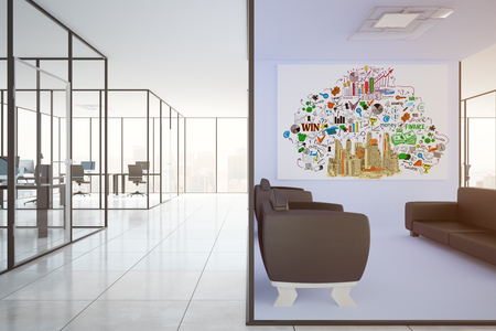 real: Modern office interior with lounge area, workplaces and business sketch on wall. Success concept, 3D Rendering Stock Photo