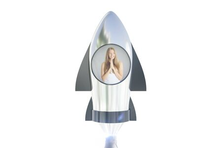 Abstract image of thoughtful young woman in launching silver rocket on white background. Startup concept. 3D Rendering Stock Photo