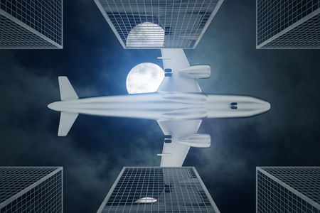 building: Bottom view of airplane flying above modern city in night sky with full moon. Travel concept. 3D Rendering
