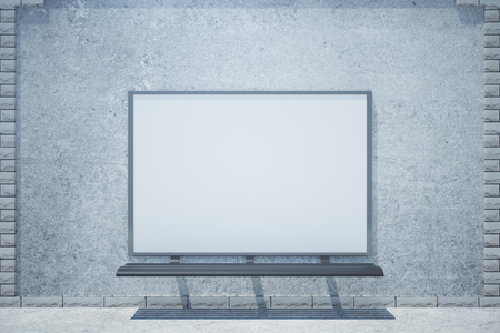 display: Front view of concrete building with empty whiteboard. Advertisement concept. Mock up, 3D Rendering