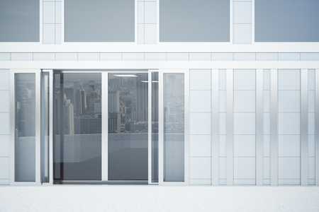 forepart: Front view of concrete tile construction exterior with glass doors. Mock up, 3D Rendering Stock Photo