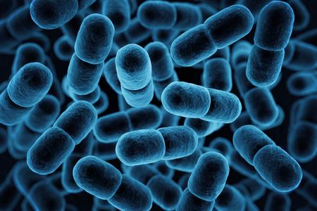 virus cell: Blue microbe background. 3D Rendering Stock Photo