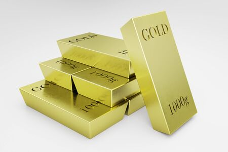 Close up of golden bars on white background. Wealth concept. 3D Rendering