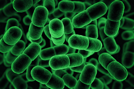 infected: Green microbe background. 3D Rendering Stock Photo
