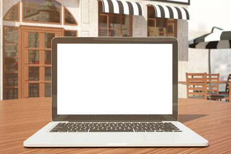 screen: Close up of empty white laptop on wooden table. Cafe exterior in the background. Freelance concept. Mock up, 3D Rendering