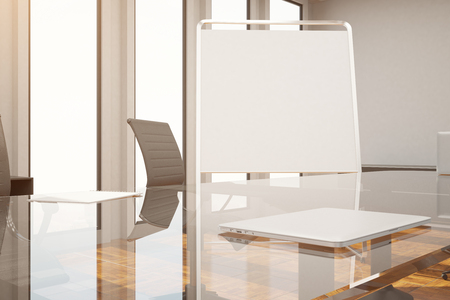 Close Up Of Blank Whiteboard Stand In Modern Conference Room Stock - Stand up conference table