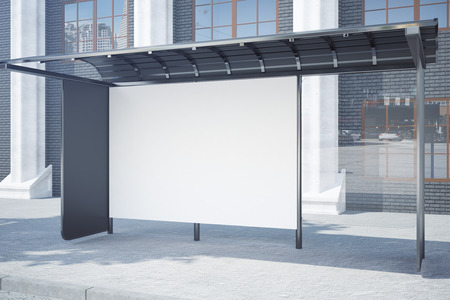 Side view of modern glass bus stop with empty poster. Advertisement concept. Mock up, 3D Rendering