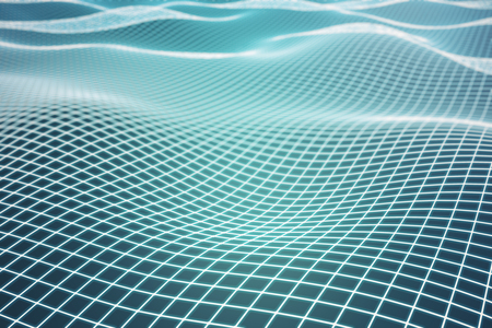 Abstract green grid waves backgroundtexturebackdropwallpaper. 3D Rendering Stock Photo