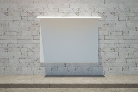 frontview: Front view of creative stylish banner on white brick wall background. Ad concept. Mock up, 3D Rendering