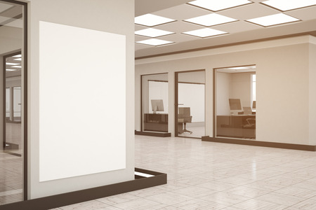 modern office interior: Modern office interior with empty bannerposterbillboard on wall. Toned image. Mock up, 3D Rendering