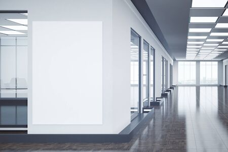 modern office interior: Modern office interior with empty billboard and city view. Mock up, 3D Rendering Stock Photo