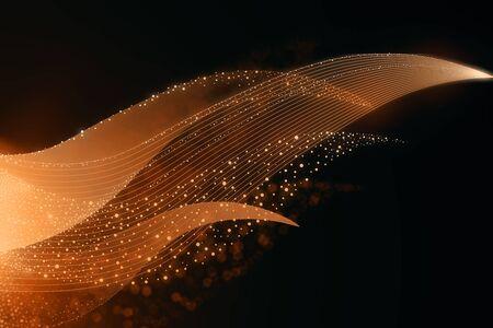 Creative orange waves background. 3D Rendering