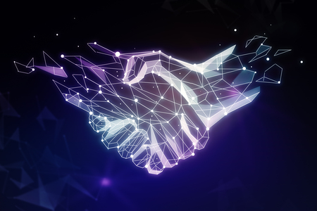Abstract polygonal handshake on dark background. Teamwork concept