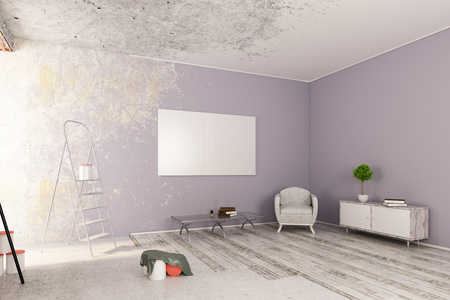 unfinished: Unfinished living room with furniture and empty canvas on wall. Mock up, 3D Rendering Stock Photo