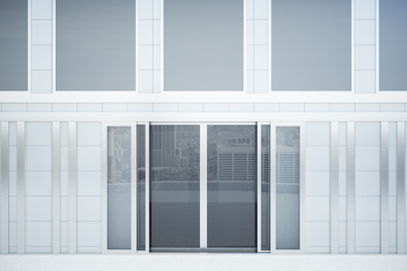 forepart: Front view of concrete tile building exterior with glass doors. Mock up, 3D Rendering Stock Photo