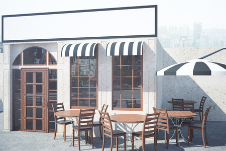 veranda: Stylish cafe exterior with tables, chairs, umbrella and empty banner. Mock up, 3D Rendering