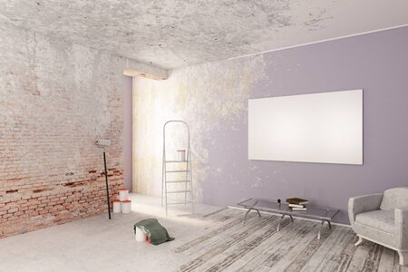 book: Unfinished interior with furniture and empty poster on wall. Mock up, 3D Rendering