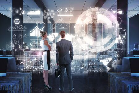 looking at view: Back view of young businessman and woman looking at abstract business panel in interior. Finance concept. 3D Rendering