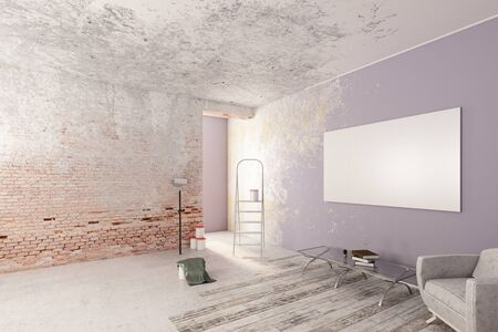 unfinished: Unfinished room with furniture and empty banner on wall. Mock up, 3D Rendering